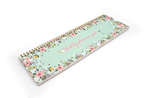 FUN DESIGN FAIR Weekly Planner Pad - Wirebound Undated Weekly Planner Pad, Weekly Daily Scheduler Keyboard Paper Pad (Mint)