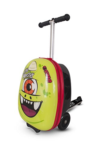 ZincFlyte Kid's Luggage Scooter 18' - Sid the Cyclops, Green