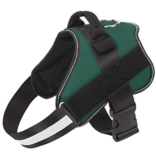 Bolux Dog Harness, No-Pull Reflective Dog Vest, Breathable Adjustable Pet Harness with Handle for Outdoor Walking - No More Pulling, Tugging or Choking ( Dark Green, L )