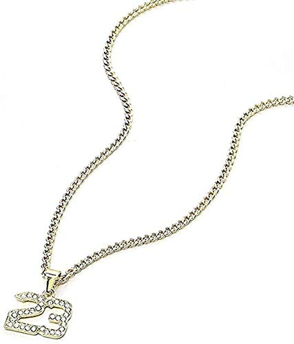 Collar Cristal Hip-hop Baloncesto Leyenda Número 23 Collar y colgante Brillo Oro Collar de cadena cubana Joyería para hombre Collar colgante Regalo para mujeres Hombres Niñas Niños