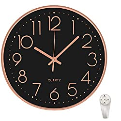12 Inch Wall Clock Silent Non Ticking Colorful Kids Wall Clock Multi Colored Numbers Decorative Clock for Children Nursery Room Bedroom School Classroom (Black with Rosegold)