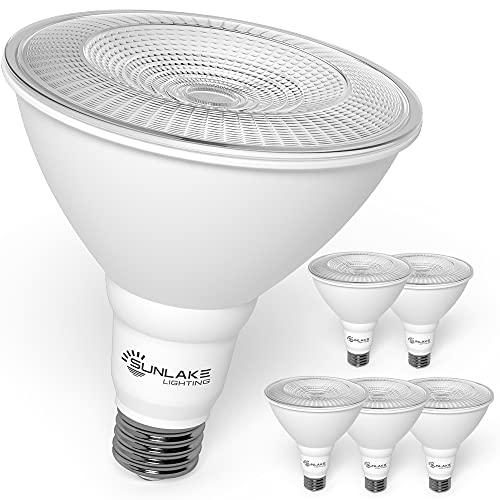 SunLake 6 Pack Outdoor Flood Light Bulbs 13 WATT (100 WATT Equivalent), par38 led Flood Light 5000K Daylight, Dimmable E26 Base, Energy-Star Rated | UL Listed | Wet-Rated