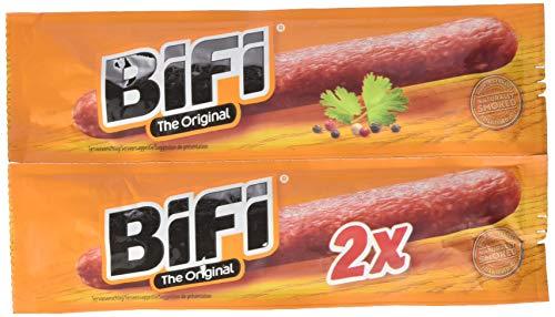 BiFi Original - herzhafter Salami Fleischsnack - geräucherte Mini Wurst als Snack To Go - Twinpack, 18er Pack (18 x 2 x 18.5 g)