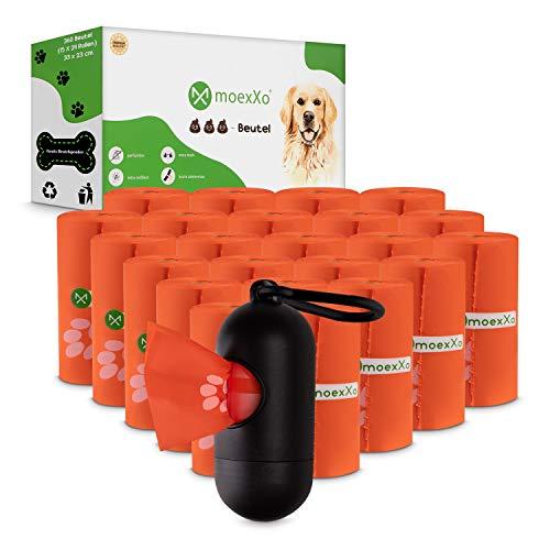 moexXo® Hundekotbeutel - Biologisch Abbaubar - Extrem Reißfest und Groß - 360 Premium Kotbeutel für Hunde - Ohne Duftstoffe - Gratis Beutelspender