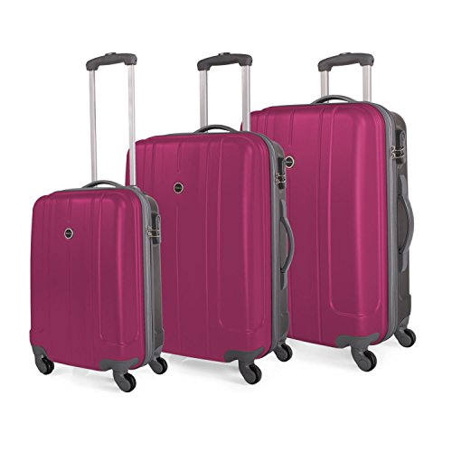 ITACA - 68000 SET 3 TROLLEYS ABS BICOLOR, Color Fucsia-Gris oscuro