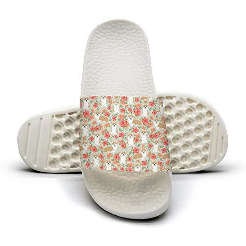 Mens Guys Best Slipper Flower and Shiba Inu Dog White Slip Resistance Open Toe Flat Sports Slide Sandals