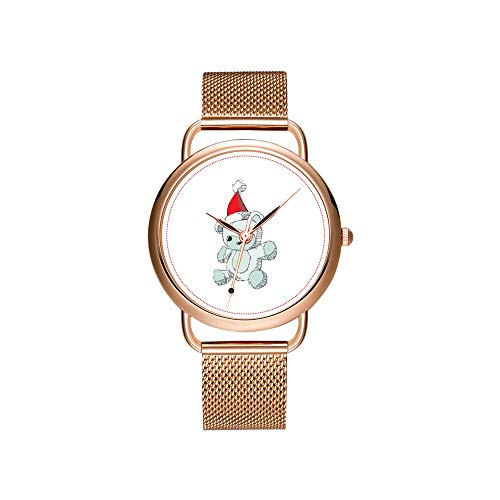 Montre de luxe pour femme - Bracelet en maille ultra fine - Étanche - Montre à quartz - Cadeau de Noël - Bleu - Bonnet de Père Noël rouge
