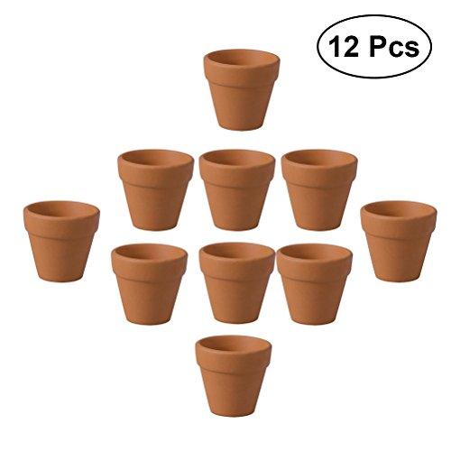 OUNONA 12 stücke Mini Terrakotta Topf Ton Keramik Pflanzer Kaktus Blumentpfe Sukkulenten Kindergarten Tpfe 3x3 cm