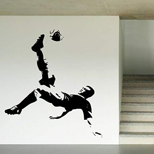 Jugador de fútbol Fútbol Deportes Jugador de fútbol Silueta Halloween Suspense Etiqueta de la pared Smiley Boca grande
