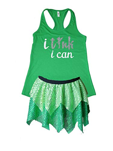 Tink Running Costume Set, Woman Size Small, Medium, Large, XL, Princess Sparkle Skirt Outfit, Adult Fairytale Sequin Tutu and Shirt, Cosplay Athletic Wear for Women, 5K, Half Marathon