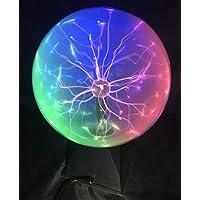 """Luz de bola de plasma, Bola de Luz Esférica Mágica de 6"""" Lámpara de Rayos Iónicos Sensible al Tacto y al Color de 3 colores"""