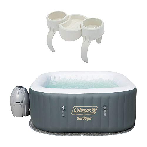 Coleman SaluSpa 4 Person Portable Inflatable AirJet Spa Hot Tub & Drink Holder