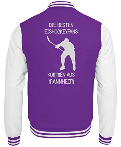 Galeriemode Eishockey Fan Mannheim - College Sweatjacke -XL-Lila-Weiss