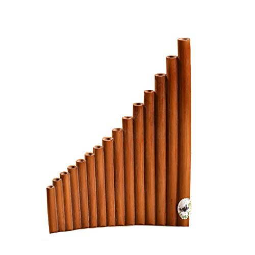 SHMYQQ Pan Flauta 15 Tubos Ajustables Bambú Natural de Perú El Estuche Incluye 15 Tubos Verticales Pan Pipes Native American Carnival Instrumento Apto para Todos