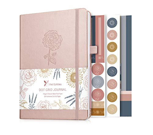 Bullet Dotted Journal - a5 dotted notebook with 160gsm ghost free and bleedproof paper with inner pocket, 3 bookmarks and gift box