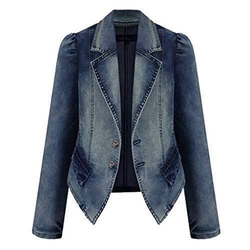Plus Size Fashion Lapel Women Casual Denim Zipper Blazer Vintage Jeans Jacket Hoodies Outerwear Coat Overcoat