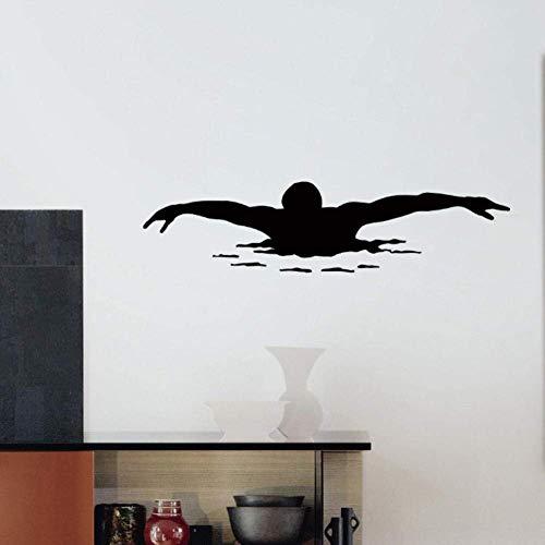 Tatuajes de pared Vinilo Adhesivo Deporte Gimnasio Natación Nadador Decoración 32X130Cm