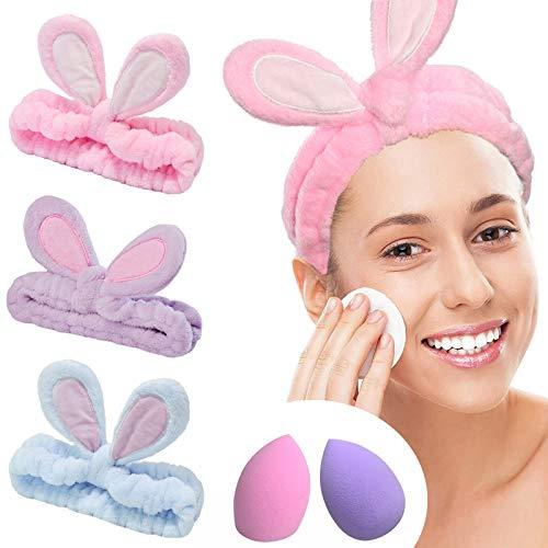 YMHPRIDE Spa Diadema - Diadema de conejo de 3 piezas para niñas, mujeres, encantadora y suave diadema elástica Carol con juego de licuadora de esponja de maquillaje(3 colores claros)
