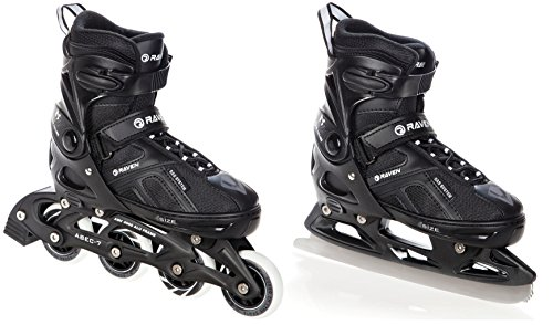 RAVEN 2in1 Schlittschuhe Inline Skates Inliner Pulse Black verstellbar (40-43(25cm - 27,5cm))