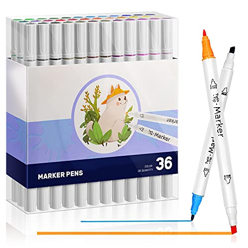 Rotuladores de 36 colores, juego de rotuladores doble punta para colorear para dibujar niños, estudiantes, adultos