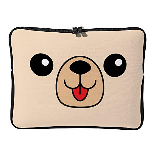 DKISEE Dog Happy Square Face Head Icon Contour Line Laptop Sleeve for MacBook Air/MacBook Pro Compatible with 13 Inch Notebook Two-way Zippers Laptop Carry Bag Case Cover