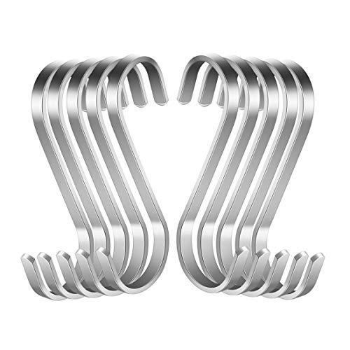 Confezione da 10 ganci a S in acciaio inox a forma di S, ganci in metallo resistenti per utensili da cucina, ufficio, bagno, armadio, officina, garage, ufficio, casa