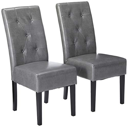 Christopher Knight Home Taylor Bonded Leather Dining Chairs, 2-Pcs Set, Dark Grey