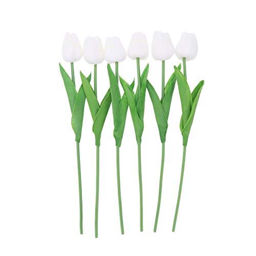 Amosfun 6pcs Artificial Tulip Flor simulación PU tulipán Ramo Flores Falsas Centro de Mesa decoración de la Boda (Blanco)