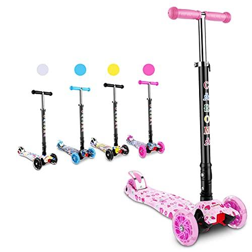 Caroma Scooter para niños, 3 altura ajustable, 3 ruedas de PU LED intermitentes con aleación de aluminio T-Bar Scooter para niños y niños de 2 a 8 años de edad