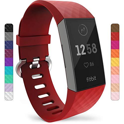 Yousave Accessories® Correa Compatible con Fitbit Charge 3 & Charge 4, Pulsera Deportiva de Silicona de Repuesto Compatible con Fitbit Charge3 / Charge4 - Grande - Roja