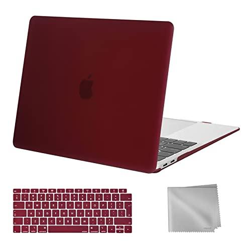 MOSISO Case Compatibile con MacBook Air 13 con Retina Display 2020 2019 2018 Uscita A2337 M1 A2179 A1932, Custodia Rigida in Plastica&Tastiera Cover&Pulire Panno, Marsala Red
