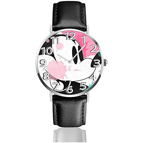 Reloj de Pulsera analógico de Cuarzo Splash Color Miackey Fun, Reloj de Cuero Lindo de Dibujos Animados Unisex