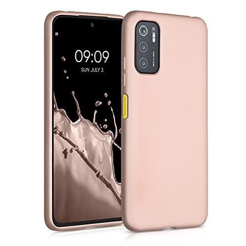 kwmobile Custodia Compatibile con Xiaomi Poco M3 PRO 5G - Cover Silicone TPU Effetto Metallizzato - Protezione Back Case Morbida Oro Rosa Metallizzato