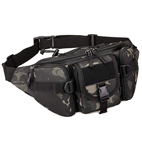 DYJ Tactical Waist Pack Bag Military Waist Pack Portable Fanny Packs Large Army Waist Bag for Daily Life Fishing Cycling Camping Hiking Traveling Hunting Shopping (Black Camouflage)