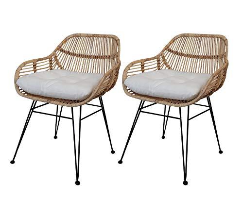 Meubletmoi - Juego de 2 sillas de ratán natural con patas de metal negro – Estilo étnico bohemio Chic – Ibiza