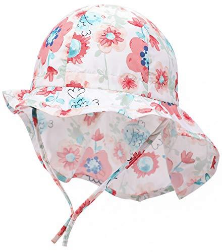 Boomly Baby Sonnenhut mit Nackenschutz Quick Drying Schirmmütze Outdoor Reise UV-Schutz Sommermütze mit Kinnriemen,Weiß 2,4-12 Monate (Etikette 45)