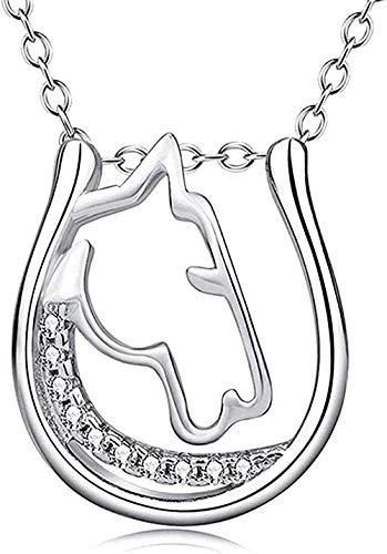 NC110 Collar Collar Mujer S Collar S925 Collar de Plata esterlina Cabeza de Caballo Blanco y microconjunto de Oro Colgante de circón Mujer S Joyería para Mujeres Hombres Regalos
