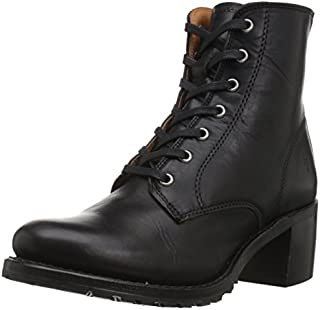 Frye Women's Sabrina 6G Lace Up Combat Boot, Black Oil Tanned Full Grain, 9