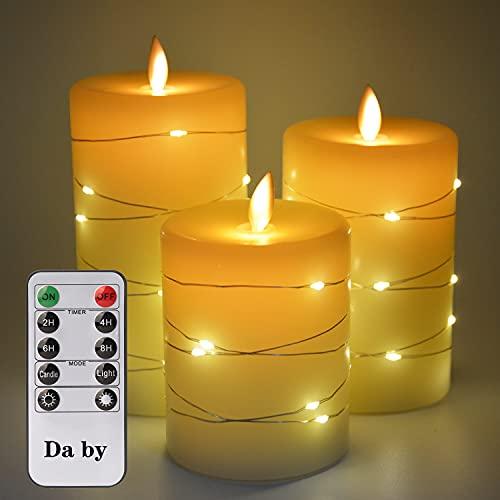 Candele LED di Da by, con luci a corda incorporate, candele LED in 3 pezzi, con telecomando a 10 tasti, funzione timer 24 ore, fiamma danzante, cera reale, alimentazione a batteria