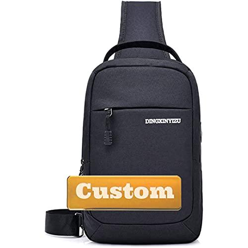 Nombre Personalizado Sling Cuerda Bolsa de Hombro Crossbody USB Sling College Bag para niña (Color : Black, Size : One Size)