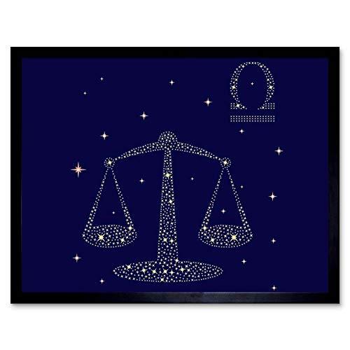 Wee Blauwe Coo Schilderen Illustratie Zodiac Ster Teken Weegschaal Kunst Print Ingelijste Poster Muurdecoratie 12X16 Inch