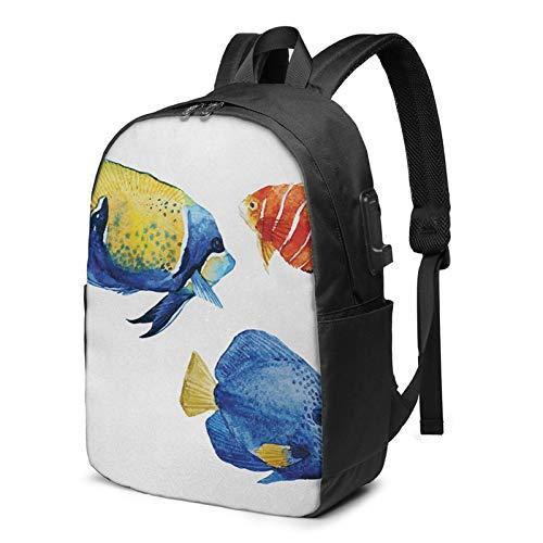 Laptop Rucksack Business Rucksack für 17 Zoll Laptop, Aquarium Leben Diskusfisch Goldfisch Schulrucksack Mit USB Port für Arbeit Wandern Reisen Camping, für Herren Damen