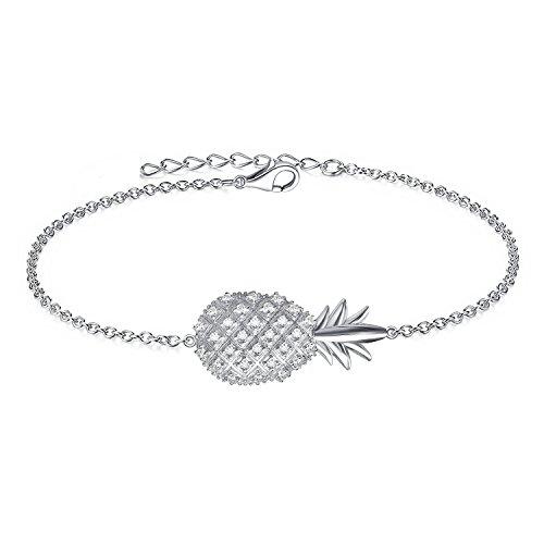 AoedeJ 925 Sterling Silver Bracelets Cubic Zirconia Heartbeat Hamsa Charm Adjustable Bracelet for Women (Pineapple)