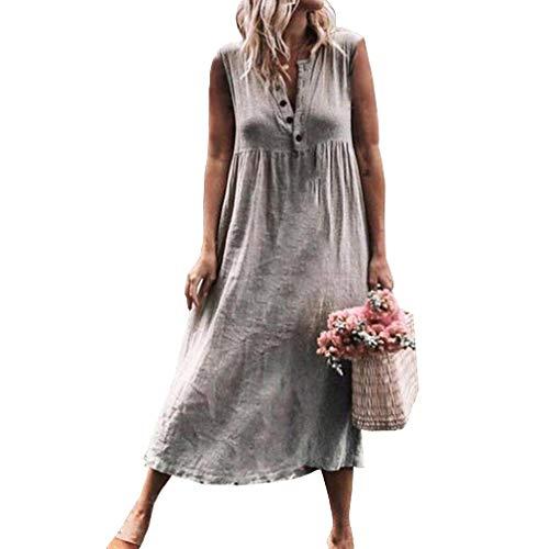 Junkai Verano de Las Mujeres de la Vendimia Suelta Color sólido Manga Corta Casual Kaftan Boho Beach Maxi algodón Lino Medio Abierto con Cuello en V Vestidos Vestidos