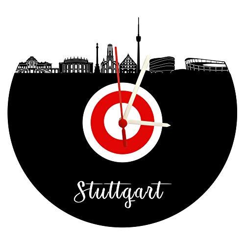 Wanduhr Skyline Stuttgart hochwertige Acrylglas Uhr mit lautlosem Quarzwerk, 3mm Stärke rot-weiß