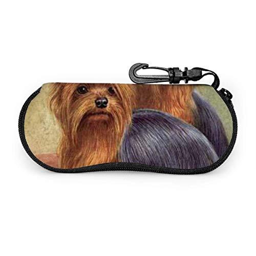 Yorkshire Terrier Puppy Soft Case Zipper Eyeglass Case Protector con clip para cinturón