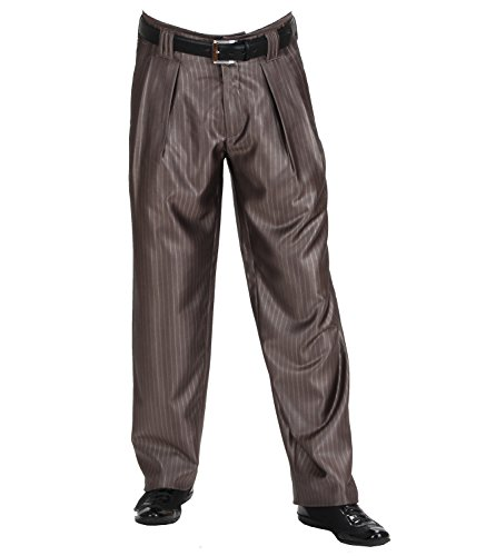 Heren plooibroek in donkerbeige met beige krijtstrepen in de stijl van de jaren '50, 60 met extra breed gesneden pijpen van HK amandel, Model Boogie