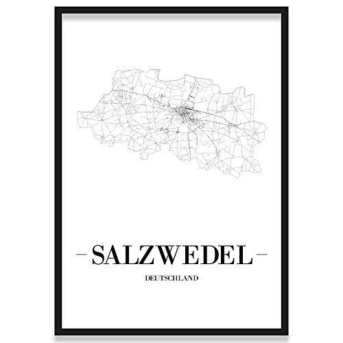 JUNIWORDS Stadtposter, Salzwedel, Wähle eine Größe, 21 x 30 cm, Poster mit Rahmen, Schrift A, Weiß