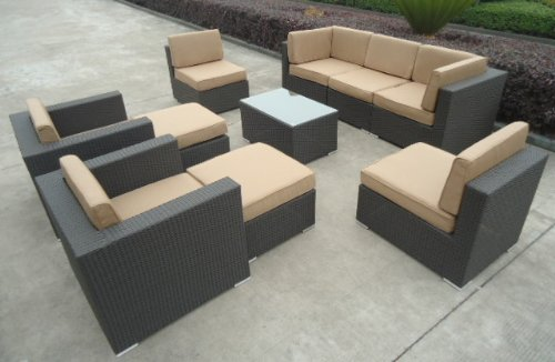 Hot Sale 10pc All Weather Wicker Patio Furniture Seating Group with Ottomans
