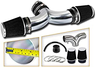 Rtunes Racing Short Ram Air Intake Kit + Filter Combo BLACK Compatible For 05-10 Jeep Grand Cherokee V8 / 06-10 Jeep Commander V8 / 06-10 Grand Cherokee 6.1L SRT8 V8 with DUAL filters …